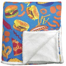 Junk Food Sherpa Lined Throw Blanket