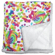 Candy Collage Sherpa Lined Throw Blanket