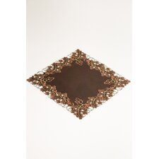 Fine Linen Fall Walnut Leaves Square Table Topper with Silver Scrolls