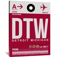 DTW Detroit Luggage Tag 1 Painting Print on Wrapped Canvas