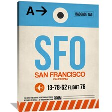 SFO San Francisco Luggage Tag 1 Painting Print on Wrapped Canvas