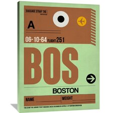 BOS Boston Luggage Tag 1 Painting Print on Wrapped Canvas