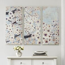 Gleeful Bloom by Norm Wyatt Jr. 3 Piece Painting Print on Wrapped Canvas Set