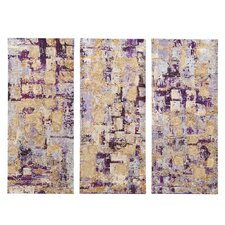 """Glided Violet Gel Coat"" by Blakely Bering 3 Piece Painting Print Set on Wrapped Canvas"