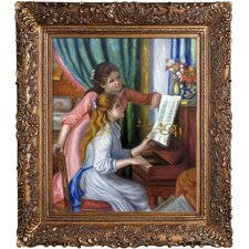 Young Girls at the Piano by Renoir Framed Painting Print on Canvas
