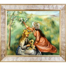Girls Picking Flowers in a Meadow, 1890 by Renoir Framed Painting Print on Canvas