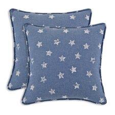 Denim Stars Cotton Throw Pillow (Set of 2)