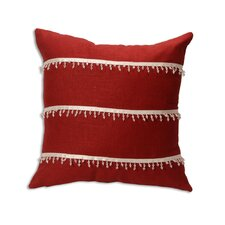 Circa Solid Lava with 3 Rows of Clear Beaded Trim Throw Pillow