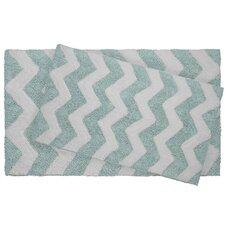 Zigzag 2 Piece Reversible Cotton Plush Bath Mat Set