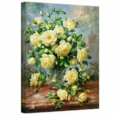 Princess Diana Roses in a Cut Glass Vase Painting Print on Canvas