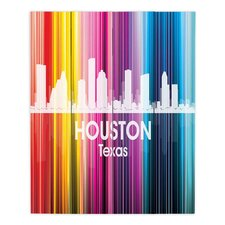 City II Houston Texas by Angelina Vick Graphic Art on Wood Planks