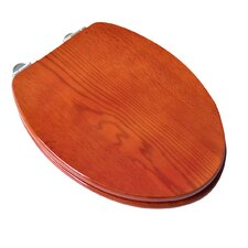 Contemporary Full Cover Solid Oak Wood Elongated Toilet Seat