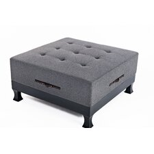 Rowan Ottoman with Pull Out Shelves in Gray