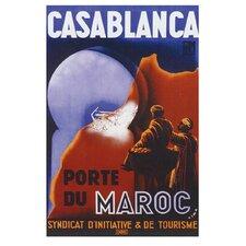 'Casablanca Travel' Vintage Advertisement on Wrapped Canvas