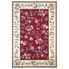 Colonial Crimson / Ivory Floral Area Rug