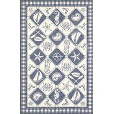 Colonial Blue/Ivory Nautical Novelty Rug