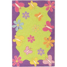 Kidding Around Springtime Fun Green Area Rug