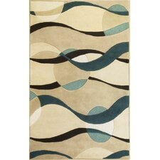Eternity Orbit Ivory/Blue Area Rug