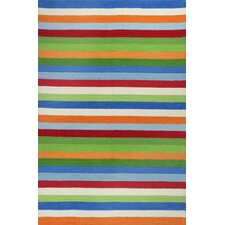 Kidding Around Cool Green & Blue Stripe Area Rug