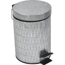 Retro 0.8-Gal. Galvanized Metal Round Toilet Step Trash Can