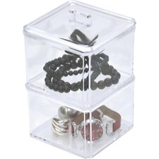 2 Display Stacked Bath Jewelry Box with Cover