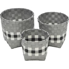 3 Piece Checkered Woven Round Strap Basket with Square Base