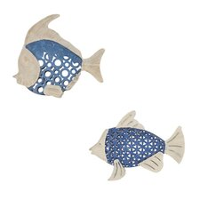2 Piece Seablue Fish Wall Art Set