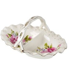 Bone China Oval Candy Bowl with 2 Section Floral Rose Decor and Handle