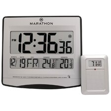 Atomic Wall Clock with 8 Time Zones, Indoor/Outdoor Temperature and Date