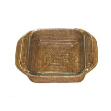 Rattan Square Baker Basket with Pyrex Included