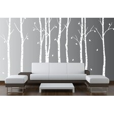 Birch Tree Nursery Forest Vinyl Sticker Removable Branches Art Stencil Leaves Wall Decal