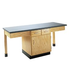 2 Station Science Table With Storage Cabinet, Drawers & Book Compartments