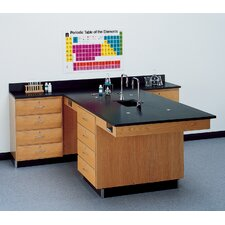 Perimeter Workstation With 4 Drawers, Sink and Fixtures