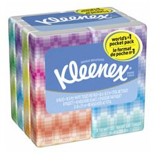 Professional Kleenex Facial Pocket 3-Ply Tissue - 10 Sheets per Pack / 8 Packs (Set of 2)
