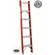 7 ft Fiberglass Straight Ladder with 300 lb. Load Capacity