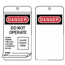 Self Laminating I.D. Photo Tag Lockouts - i.d. photo lockout tagslaminated grommetted tag