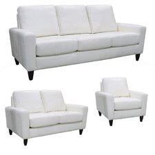 Atlanta Top Grain Leather Sofa, Loveseat and Chair Set (Set of 3)