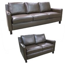 Denver Top Grain Leather Sofa and Loveseat Set