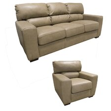 Hartford Top Grain Leather Sofa and Chair Set (Set of 2)