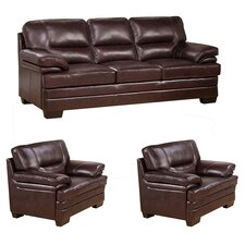 San Paolo Top Grain Leather Sofa and 2 Chair Set