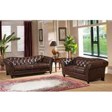 Knightsbridge Top Grain Leather Sofa and Loveseat Set