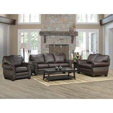 Huntington Italian Leather Sofa, Loveseat, and Chair Set (Set of 3)