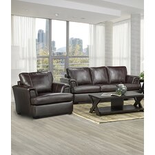 Royal Cranberry Italian Leather Sofa and Chair Set (Set of 2)