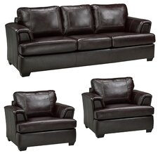 Royal Cranberry Italian Leather Sofa and 2 Chair Set (Set of 3)