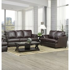 Royal Cranberry Italian Leather Sofa and Loveseat Set (Set of 2)