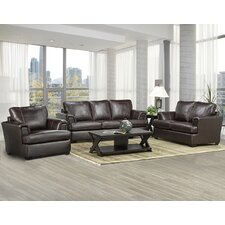 Royal Cranberry Italian Leather Sofa, Loveseat and Chair Set (Set of 3)