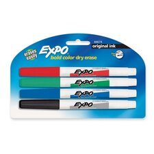 Dry-erase Markers, Fine Point, Nontoxic, 4/PK, Assorted
