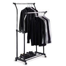 Double Adjustable Garment Rack in Black & Chrome