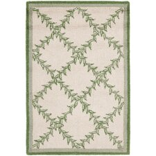 Chelsea Ivory & Light Green Wilton Trellis Area Rug
