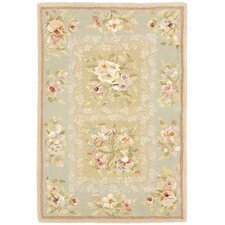 French Tapis Sand/Green Floral Area Rug